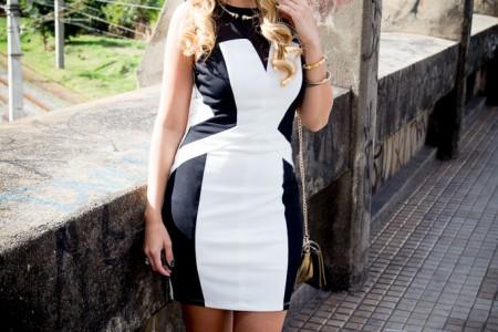 look-da-onca-vestido-ilusao-optica-vestido-preto-e-branco-vestido-que-emagrece-k9-sandalia-grossa-covenant